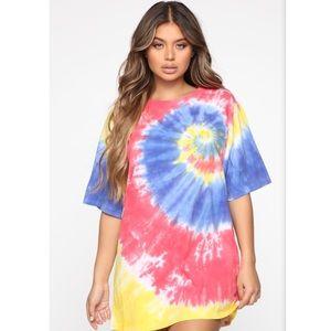 NWT Fashion Nova Tie-Dye Shirt Dress
